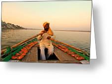 Boat Man On The Ganges River At Varanasi Greeting Card