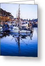 Boat Mast Reflection In Blue Ocean At Dock Morro Bay Marina Fine Art Photography Print Greeting Card