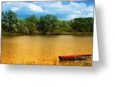 Boat On A Golden Pond Greeting Card