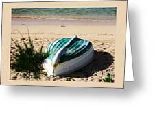 Boat On Devonshire Bay Beach Greeting Card