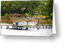 Boat On Dock Greeting Card