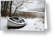 Boat On Iced  Lake In Denmark In Winter Greeting Card
