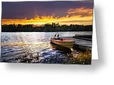 Boat On Lake At Sunset Greeting Card
