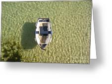 Boat On Ocean Greeting Card by Pixel Chimp