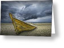 Boat On The Beach With Oncoming Storm Greeting Card