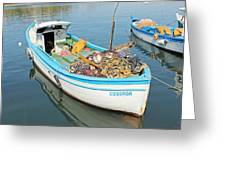 Boat Reflected In Sozopol Harbour Greeting Card