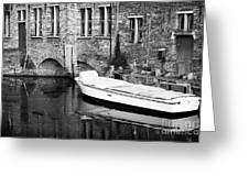 Boat Reflection In Bruges Greeting Card