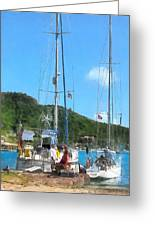 Boat - Relaxing At The Dock Greeting Card