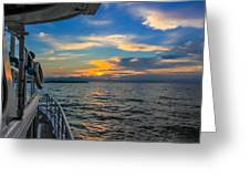 Boat Returning To Port As Dawn Breaks Greeting Card