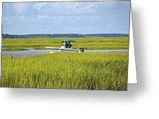 Boat Ride In The Marsh Greeting Card