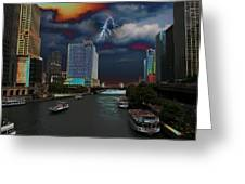 Boat Ride On Chicago River Greeting Card
