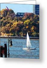 Boat - Sailboat Near Chelsea Pier Greeting Card