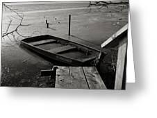 Boat In Ice - Lake Wingra - Madison - Wi Greeting Card