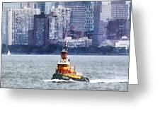 Boat - Tugboat By Manhattan Skyline Greeting Card