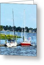 Boat - Two Docked Sailboats Norwalk Ct Greeting Card