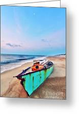 Boat Under Morning Moon Outer Banks I Greeting Card