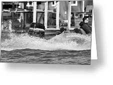 Boat Wake Black And White Greeting Card