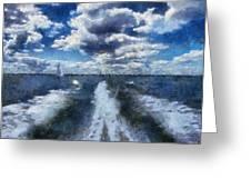 Boat Wake Photo Art 02 Greeting Card