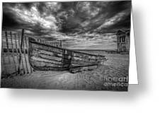 Boat Wreckage Bw Greeting Card