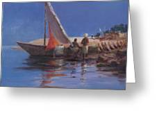 Boat Yard, Kilifi, 2012 Acrylic On Canvas Greeting Card