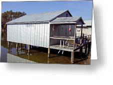 Boathouse At Low Tide Greeting Card