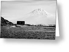 boathouse on goudier island port lockroy with doumer island hill Antarctica Greeting Card