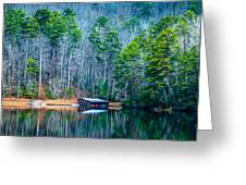 Boathouse On Pinnacle Lake Greeting Card