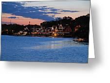 Boathouse Row Dusk Greeting Card