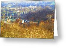 Boathouse Row Impasto Greeting Card