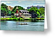 Boathouse Rowers On The Row Greeting Card