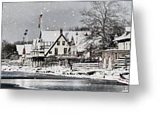 Boathouse Snow Greeting Card