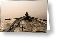 Boating At Sangam Greeting Card