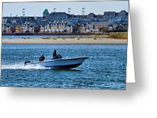 Boating In New York Harbor Greeting Card by Dan Sproul