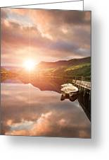 Boating Lake Sunrise Greeting Card by Matthew Gibson