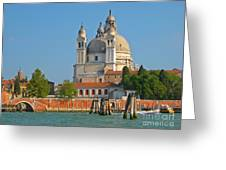 Boating Past Basilica Di Santa Maria Della Salute  Greeting Card