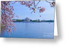 Boats Across The Basin Of Blossoms Greeting Card