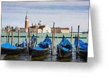 Boats Anchored At Marina Venice, Italy Greeting Card