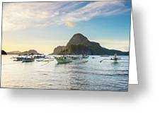 Boats Anchored In Bacuit Bay And Cadlao Greeting Card