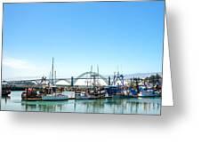 Boats And Bridge Greeting Card