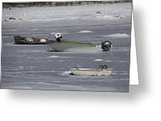 Boats And Ice Hobart Beach Ny Greeting Card