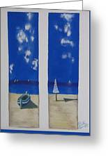 Boats And Umbrellas Greeting Card
