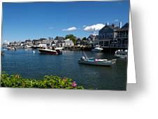 Boats At A Harbor, Nantucket Greeting Card