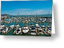 Boats At Bay Greeting Card