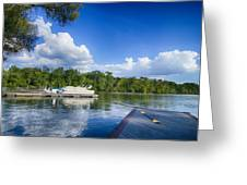 Boats At Dock On A Lake With Blue Sky Greeting Card