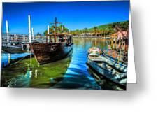 Boats At Kibbutz On Sea Galilee Greeting Card