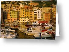 Boats At The Harbor, Camogli, Liguria Greeting Card