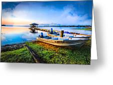 Boats At The Lake Greeting Card