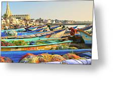 Boats Being Readied For Fishing Greeting Card
