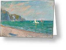 Boats Below The Pourville Cliffs Greeting Card