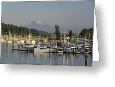 Boats Docked At A Harbor With Mountain Greeting Card